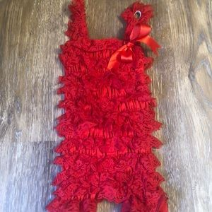 Other - Red Lace Ruffle Romper